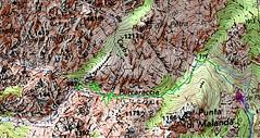 Carte du parcours supérieur avec la trace GPS (aberrante) en vert prise à la descente