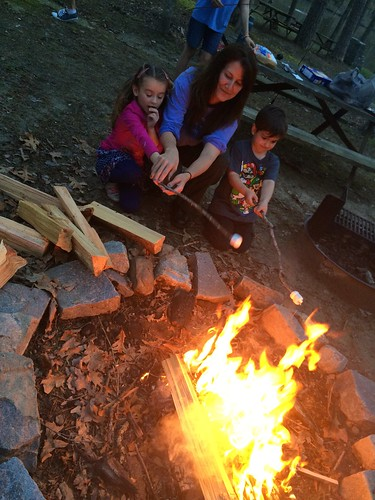 Making s'mores around the campfire | A family enjoys the ...
