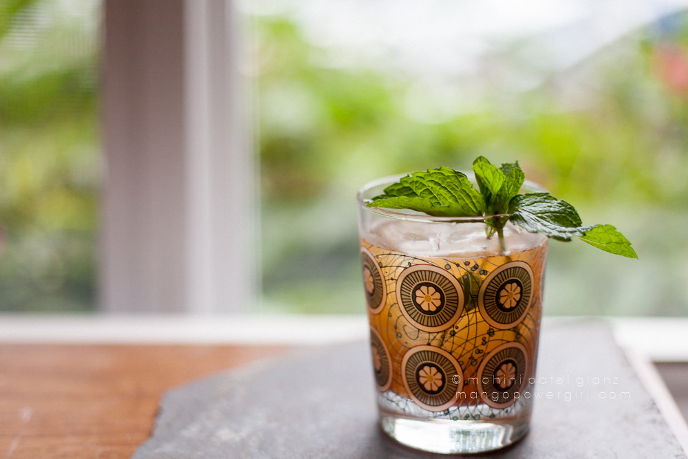 Masala Chai Julep with fresh mint leaves