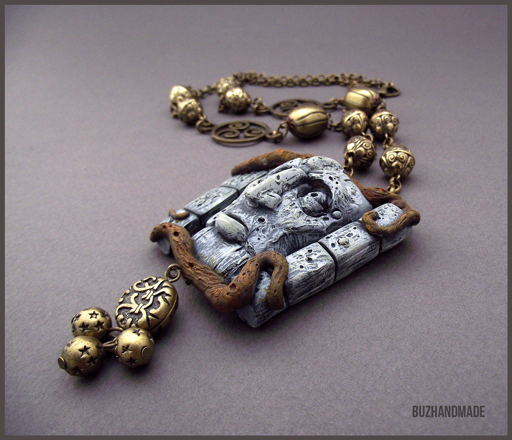 Labyrinth clay collection by buzhandmade - Talking Wall Necklace