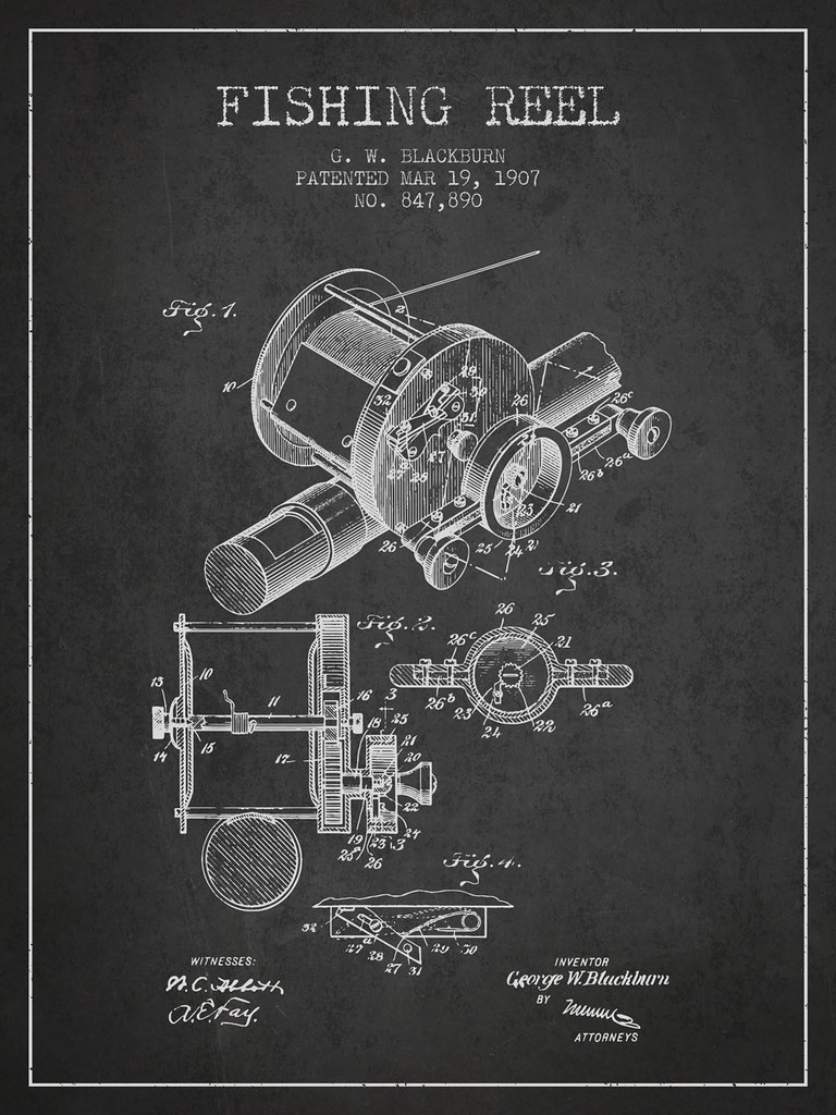 Fishing Reel Patent From 1907 Drawing Flickr Diagram Motorcycle Engine Art By Patents Wall