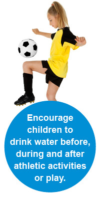 photo of child soccer player with words: remind children to drink water before, during and after athletic activities or play