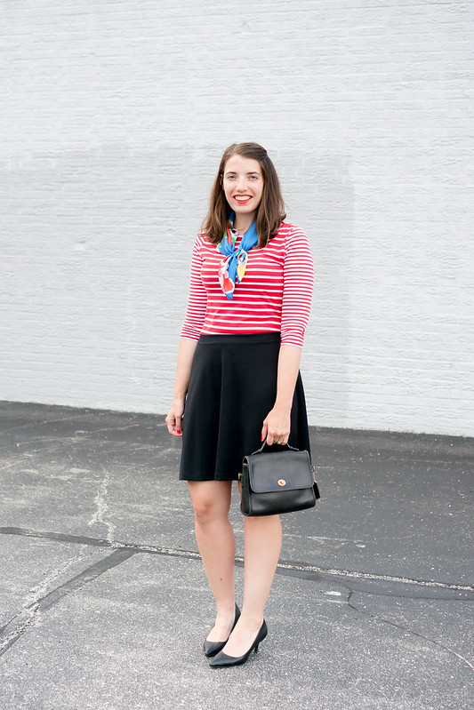red white stripe tee + black skirt + floral scarf + print mixing; summer work outfit | Style On Target