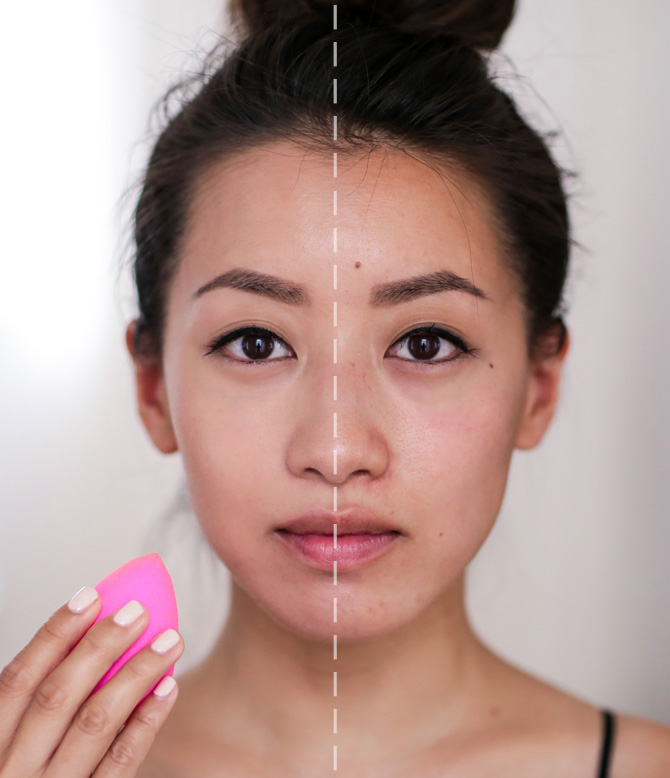 lancome teint idol 24hr foundation beauty blender before and after_asian makeup