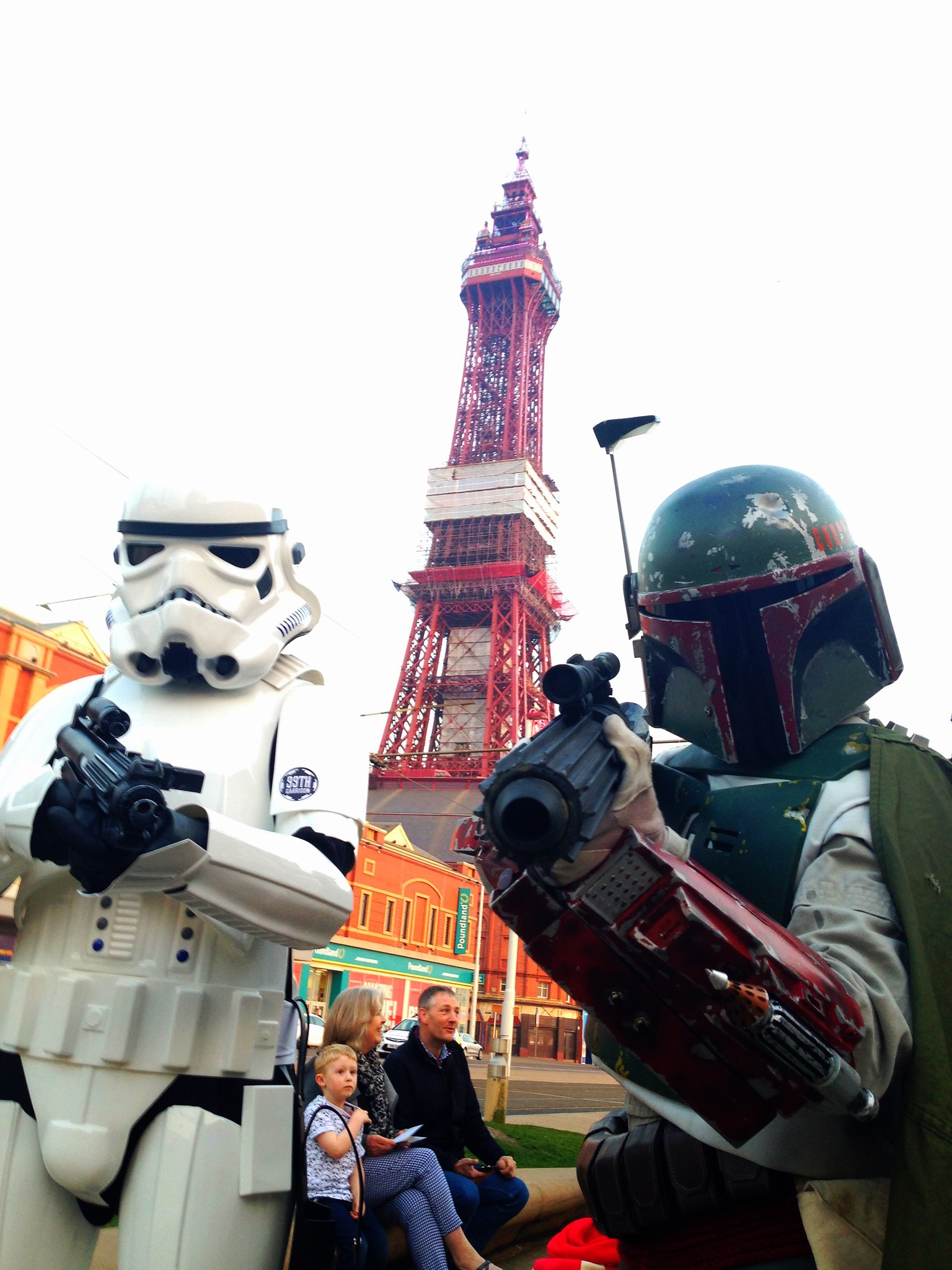 Blackpool Comic-Con Launch Party - Star Wars Stormtrooper and Boba Fett by Blackpool Tower