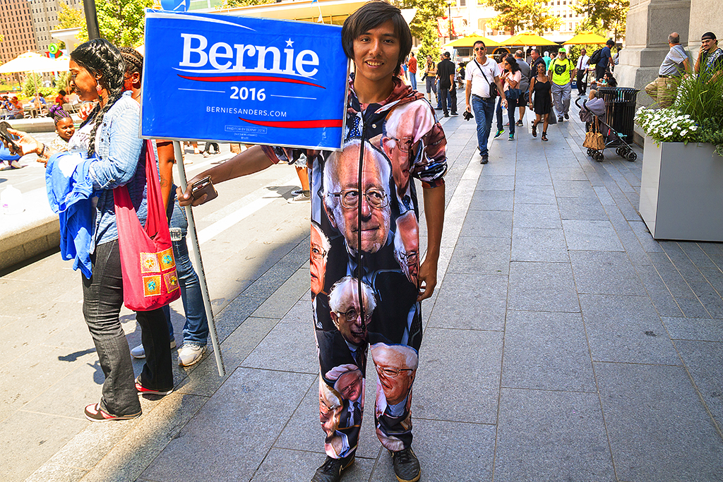 Young man in Bernie Sanders onesie--Center City