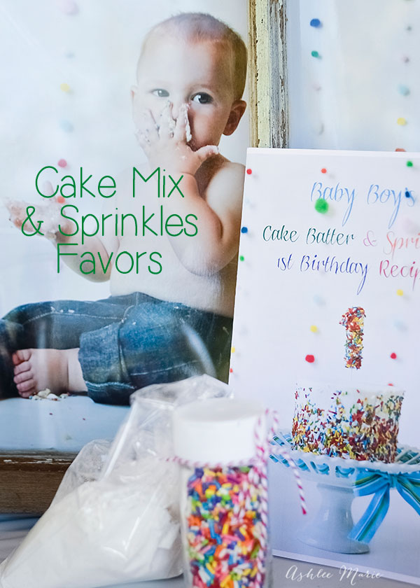 the perfect favors for your party, a small bag of cake mix, with a container of sprinkles and a recipe book