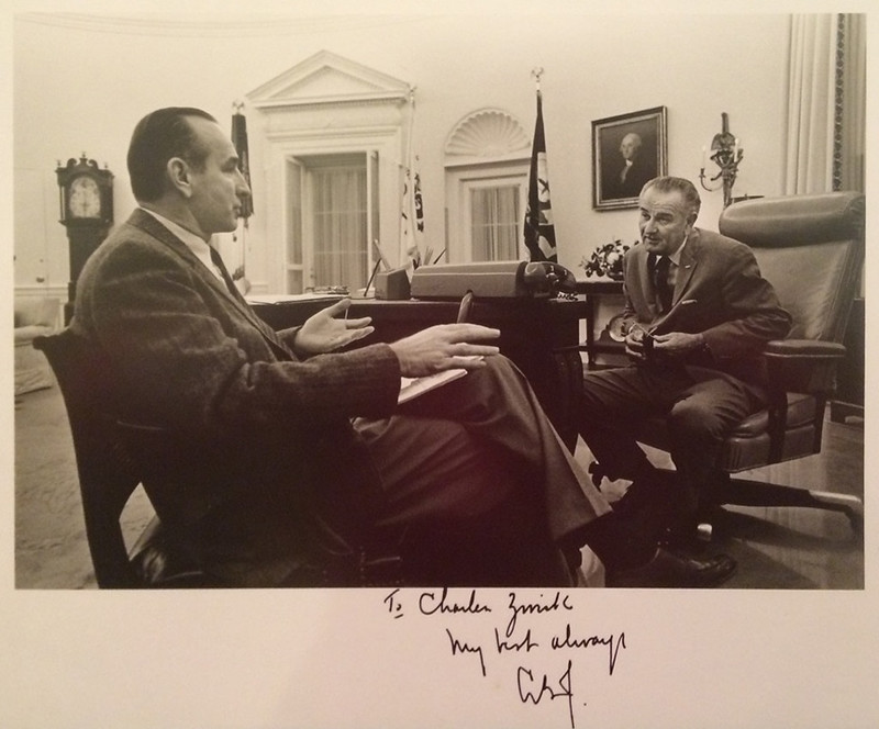 Alumnus and CAHNR benefactor Charles Zwick meets with President Lyndon B. Johnson during his time as Director of the U.S. Bureau of the Budget from 1968-1969.