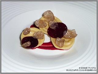 רביולי עם גבינה כחולה (Blu Monviso) במסעדת Metamorfosi