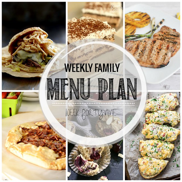 Weekly Family Menu Plan - featuring 5 weeknight dinner recipes, a weekend breakfast, and a delicious dessert!