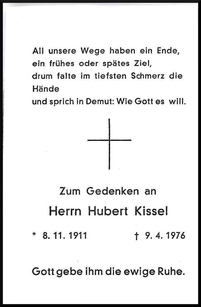 Totenzettel Kissel, Hubert † 09.04.1976