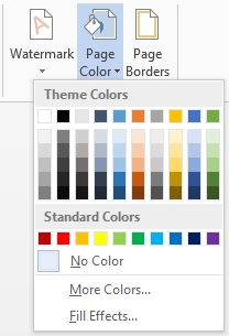 word 2013 page layout color