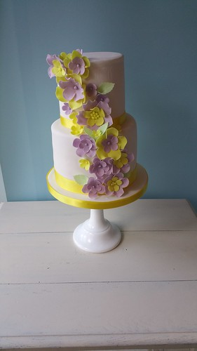 Small two tiered cake with vibrant flowers | by platypus1974
