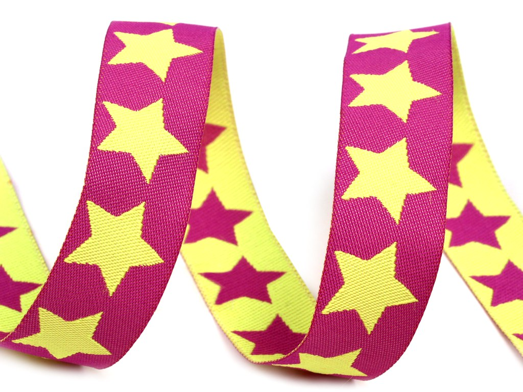 "Webband ""Sterne"", pink-gelb"