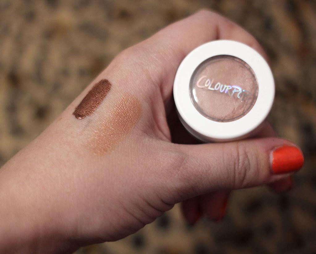 Swatch of Colourpop Zebra Lipstick and Wattles Eye Shadow on Light Skin