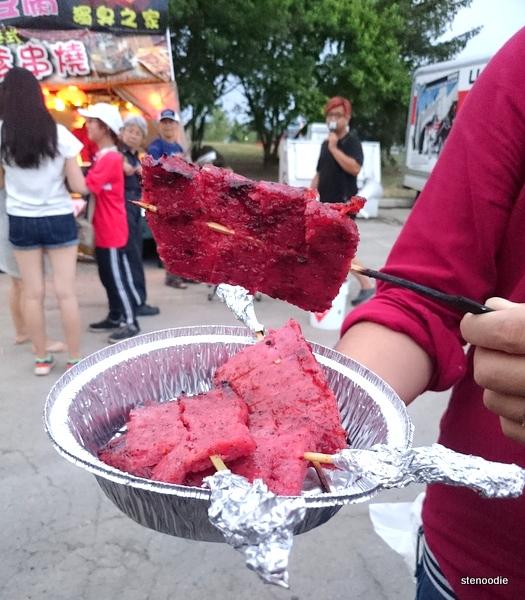 Black pig kebabs