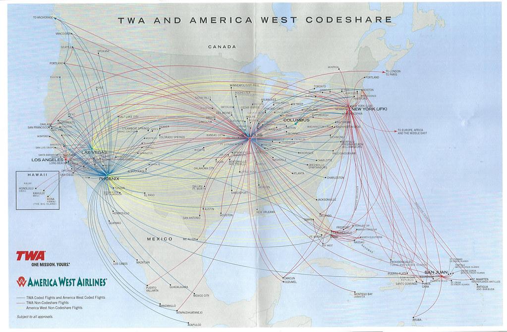 Twa And America West Codeshare Map Late 2000 A