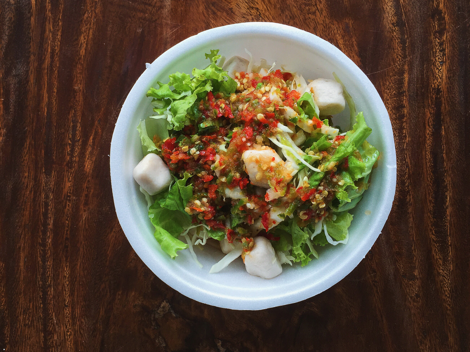 Spicy Vegan Fish Ball Salad