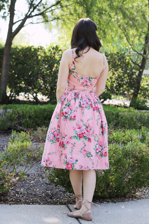 "Hearts and Found Penelope Dress ""Ring a Ring o' Roses"" Large Floral Roses in Pink"