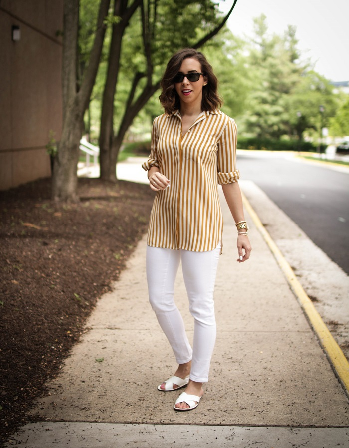 aviza style. a viza style. andrea viza. fashion blogger. dc blogger. spring style. white denim. verticle stripe silk top. white slides sandals. 1