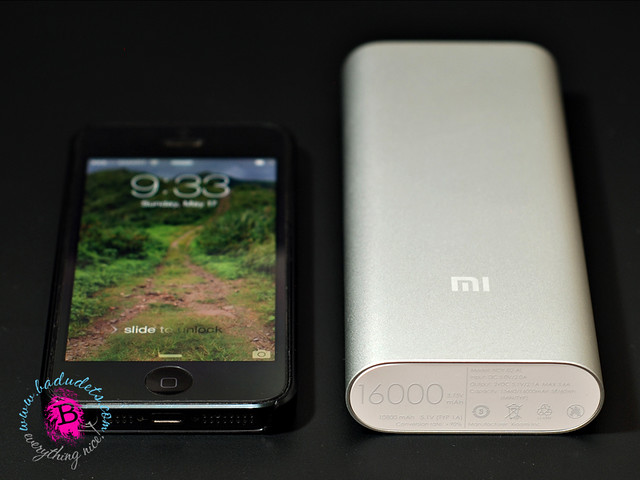 size comparison of mi 16000 mah power bank with Iphone 5s