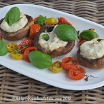 Button mushrooms with ricotta, tomatoes and basil