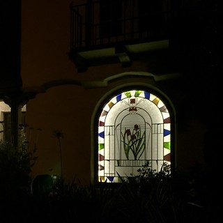 Stained Glass Panel from outside at night