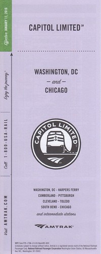 Amtrak Capitol Limited 2016 Cover