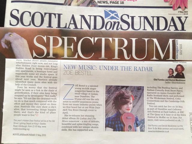 Olaf Furniss and Derick Mackinnon Scotland On Sunday, Spectrum Magazine 17 May 2015, Zoë Bestel