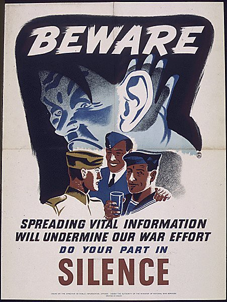 World War II Poster - Beware Silence