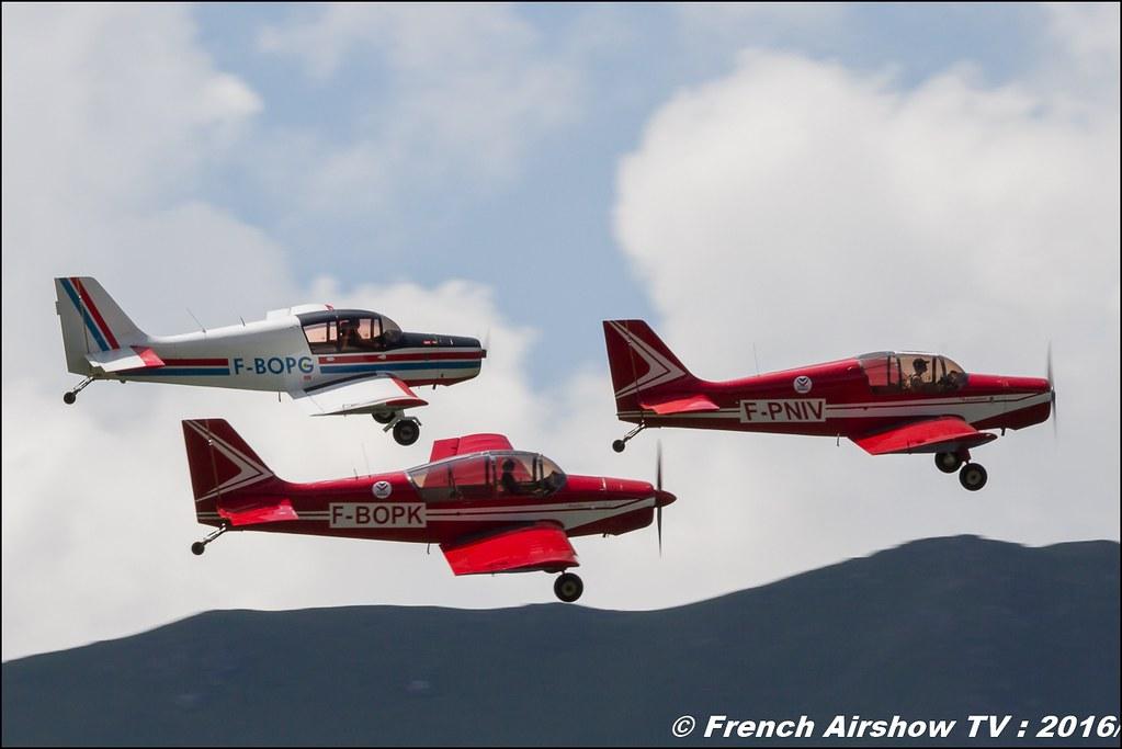 Patrouille Mousquetaire, Mousquetaire D140R F-BOPK , Mousquetaire D140 F-PNIV , Mousquetaire D140R F-BOPG , Meribel Air Show , 2016 , meribel airshow , les 3 vallees , Méribel LFKX/MFX ,MAS 2016