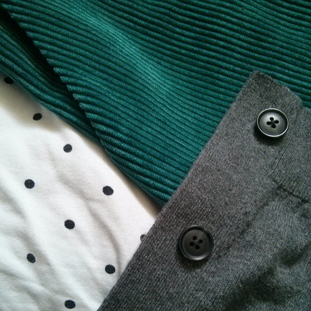#mmm15 day 7 - photo hampered by my phone camera refusing to work but here's the gist of it. Teal cord New Look 6154 with pockets, rtw t-shirt & cardigan