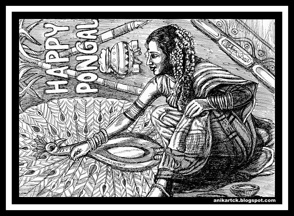 Line Art Village : Tamil artist oviyam oviyangal o