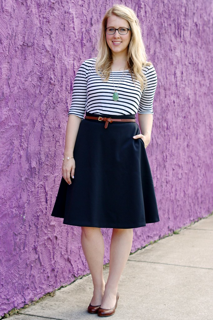 black midi skirt with a striped top