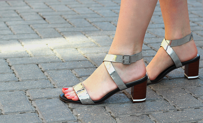 Next Silver Block Heel Sandals
