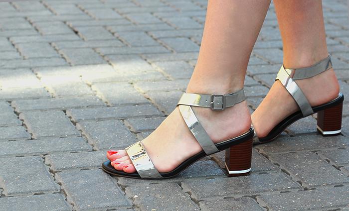 Next Silver Block Heel Sandals