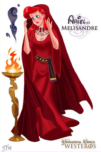 Disney Princesses vs Game of Thrones by DjeDjehuti - Ariel as Melisandre
