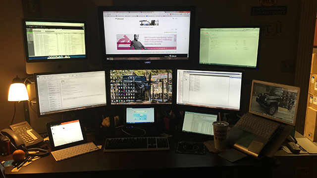My Setup Quad Monitor Dell System Surrounded With An