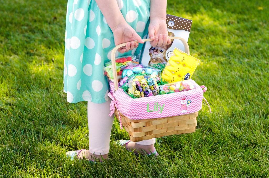 Little girl in blue polka dot dress holding personalized e flickr little girl in blue polka dot dress holding personalized easter basket with chocolate eggs bunny peeps negle Choice Image