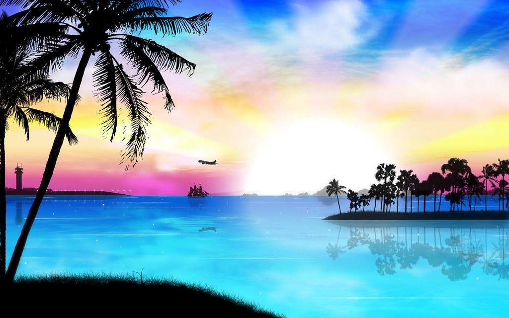 Tropical Beach Sunrise Wallpaper Cool Backgrounds