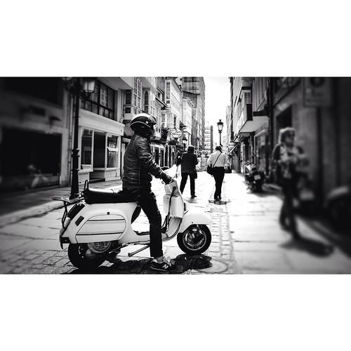 Vespa #squaready #fujix30 #street #streetphotography #streetphoto_bw #photooftheday #bw