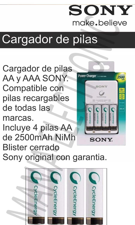 Cargador 4 pilas recargables sony cycle energy aa 2500 - Cargador pilas recargables ...
