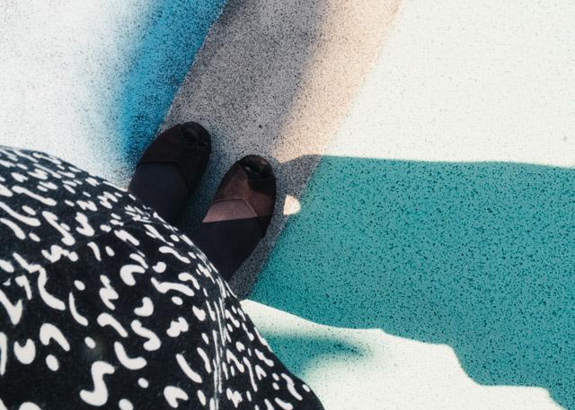shadow on colourful floor