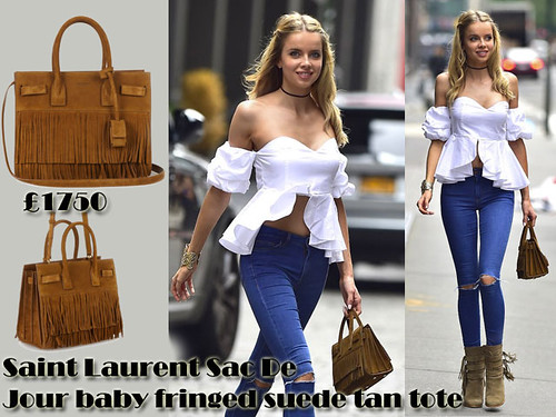 Saint Laurent Sac De Jour baby fringed suede tan tote bag with a white bardot top