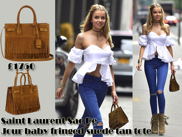 Saint-Laurent-Sac-De-Jour-baby-fringed-suede-tan-tote-with-a-frill-off-the-shoulder-top,tote bag, a blue ankle ripped Topshop jeans, Zara fringed boots, white frilled off the shoulder top, a cuff, black choker, white frilled Bardot top, off the shoulder crop top, fringed boots, ripped jeans, blue ripped jeans