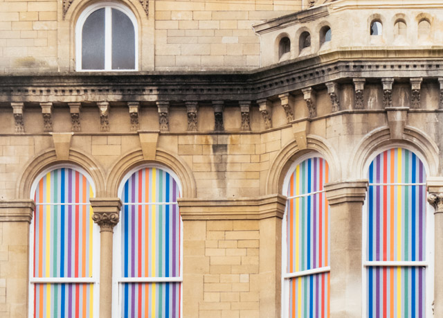 rainbow windows on st mary street, cardiff