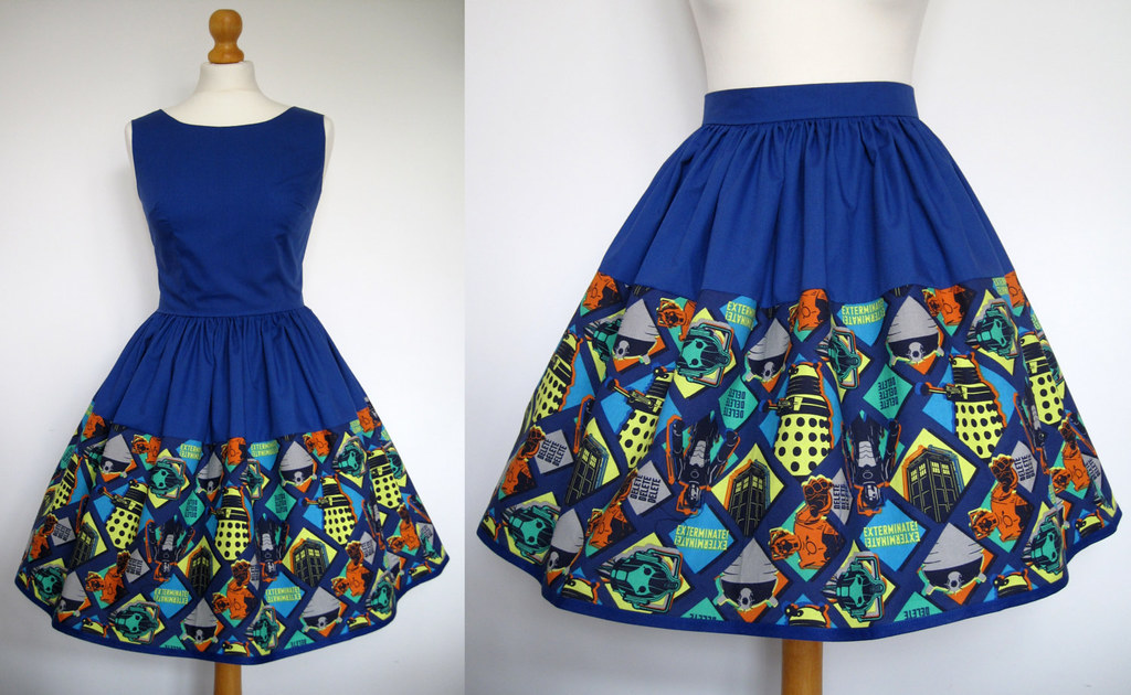 Skirt or dress hand made from Doctor Who fabric by Frockasaurus