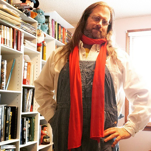 OOTD: White button-down and the vintage Lee hickory-striped overalls that I just discovered finally fit! And my Shakespeare scarf. Ready to go out! #overalls #scarf #HickoryStripe #vintage #Lee