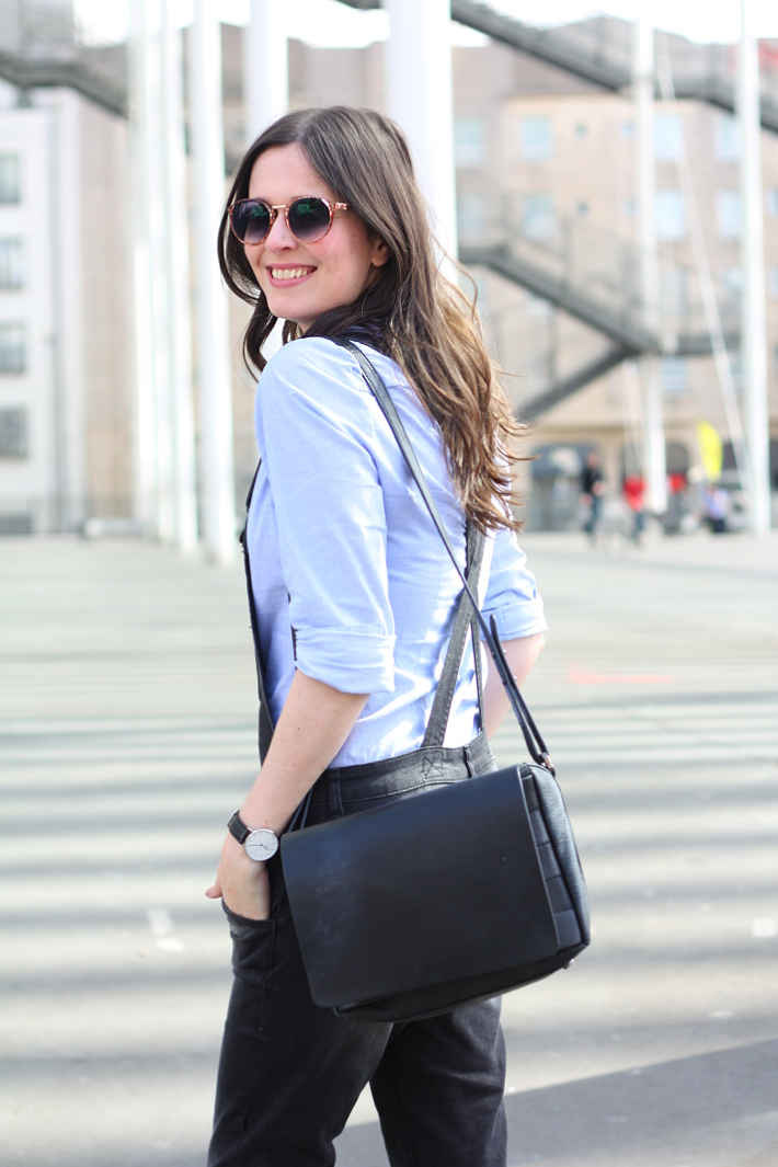 overalls, button down shirt, leather handbag