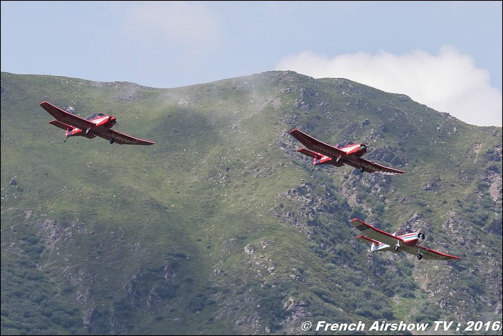Patrouille Mousquetaire, Mousquetaire D140R F-BOPK , Mousquetaire D140 F-PNIV , Mousquetaire D140R F-BOPG , Meribel Air Show , 2016 , meribel airshow , les 3 vallees , Méribel LFKX/MFX